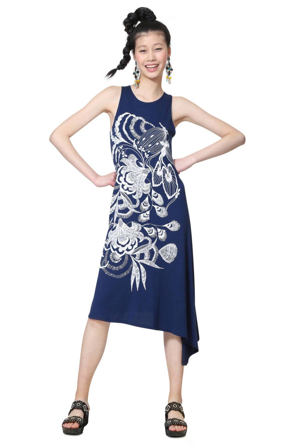 Desigual asymmetrische jurk met printopdruk blauw, Blauw