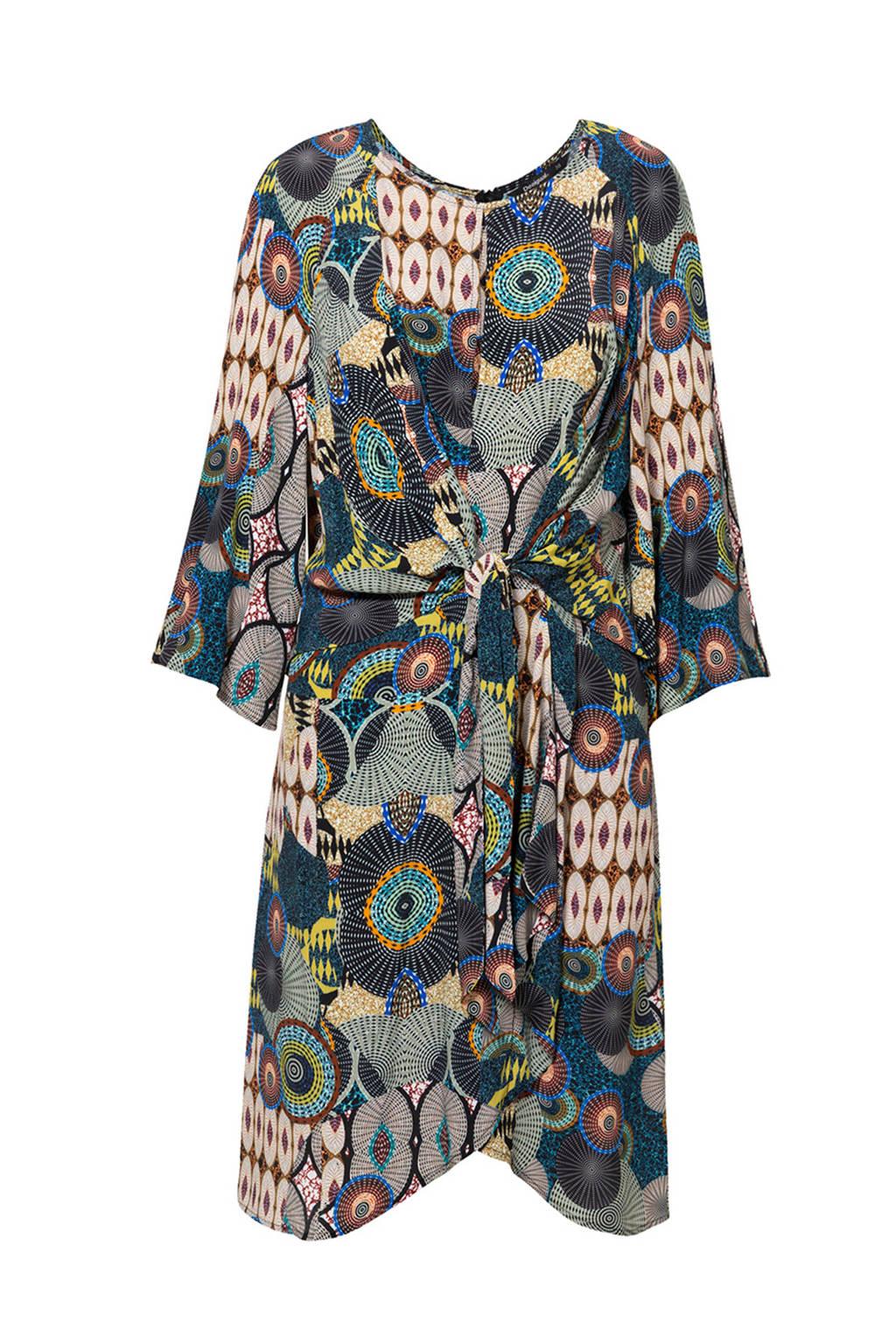 Desigual jurk met knoopdetail, Blauw/bruin/beige