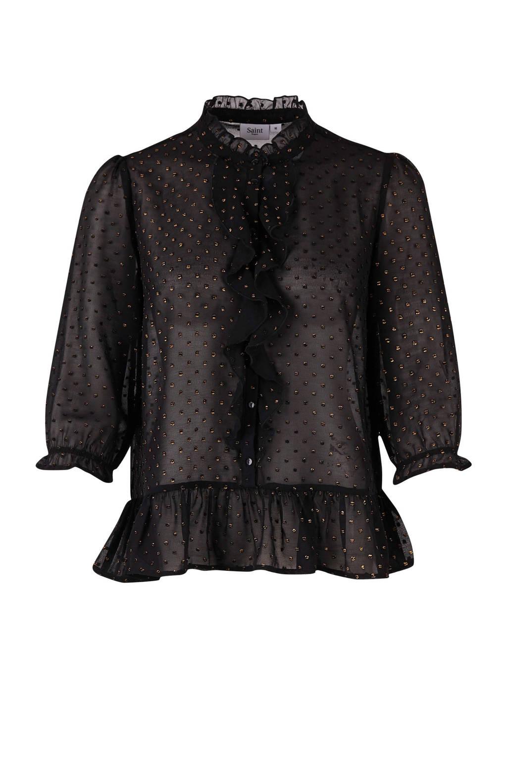 Saint Tropez blouse met glitters, Zwart/goud