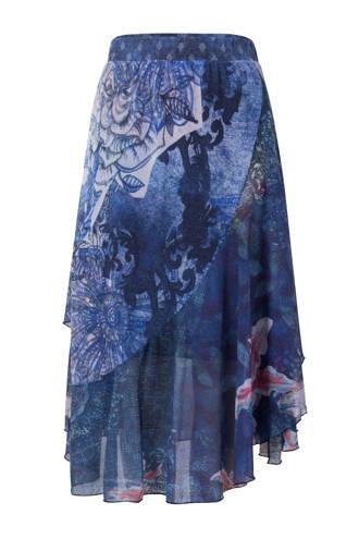 asymmetrische rok met overslag blauw