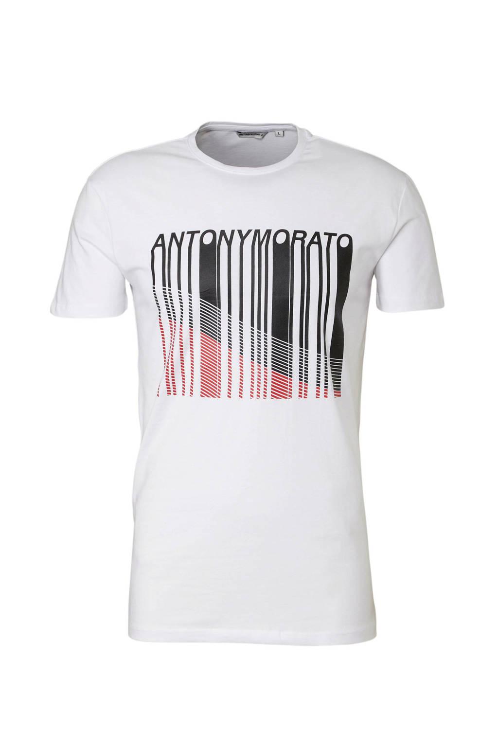 Antony Morato T-shirt met print wit, Wit