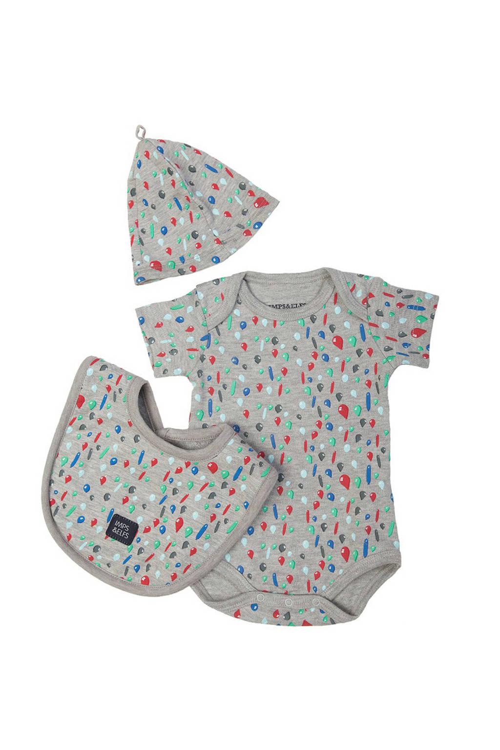 IMPS&ELFS baby geschenkset met romper, mutsje en slab, Grijs/blauw/rood