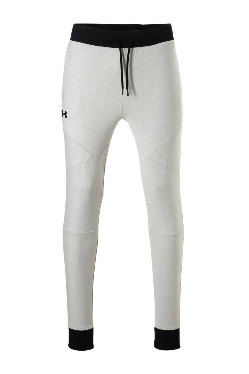 Under Armour Unstoppable Knit Jogger joggingbroek crèmewit, Lichtgrijs/zwart