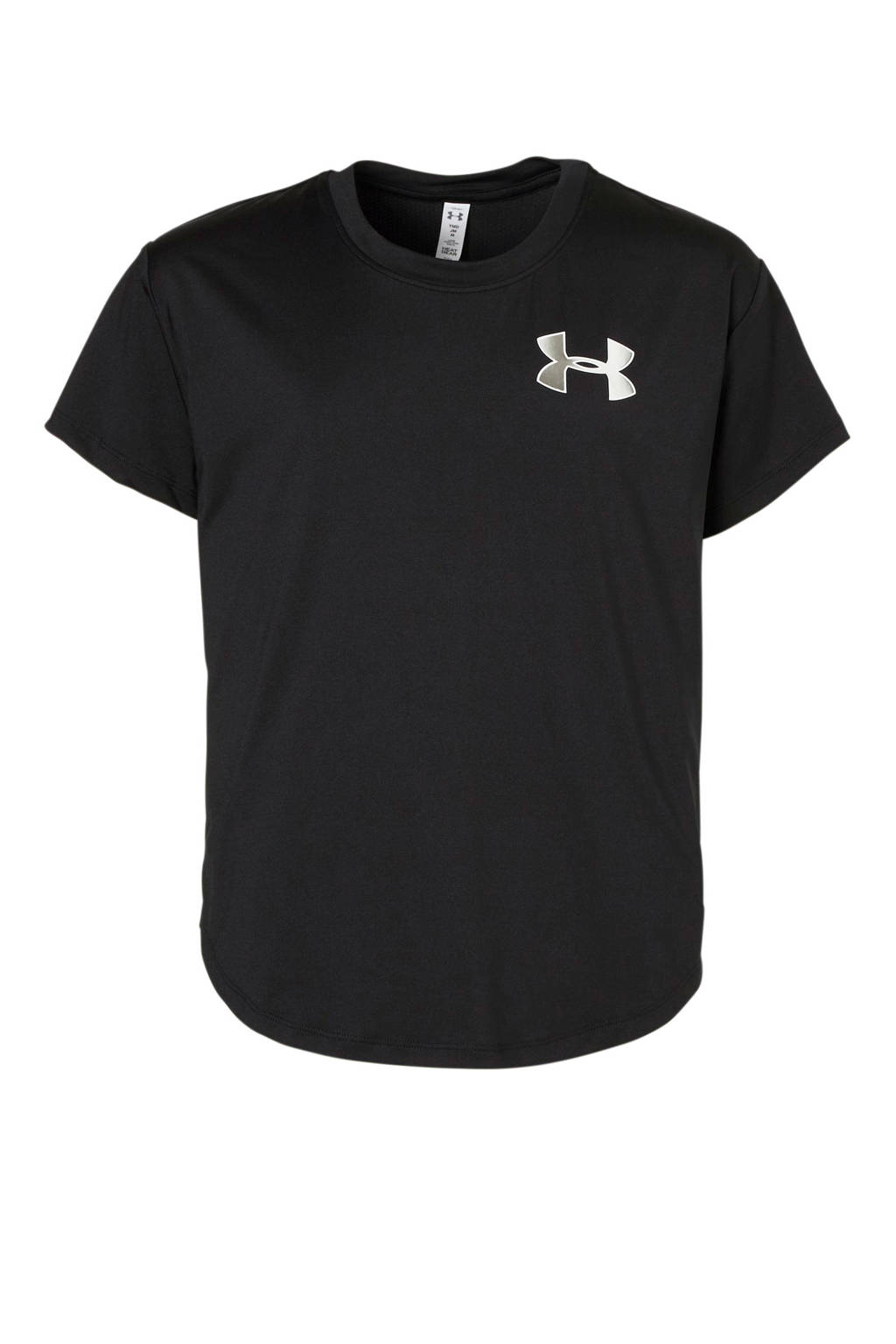 Under Armour sport T-shirt zwart, Zwart/zilver