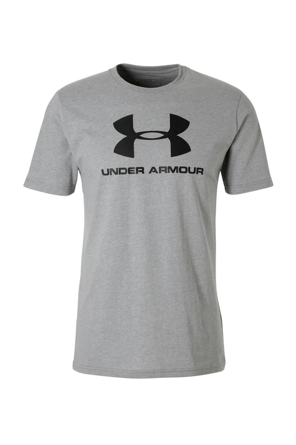 Under Armour   sport T-shirt grijs, Grijs/zwart