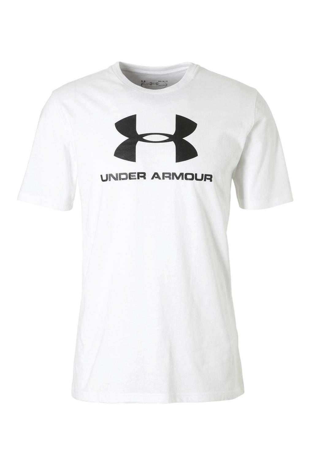 Under Armour   sport T-shirt wit, Wit/zwart