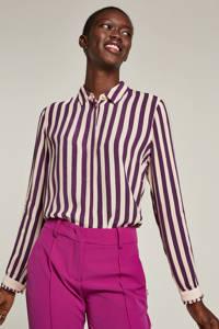 NÜMPH gestreepte blouse paars/ecru, Paars/ecru