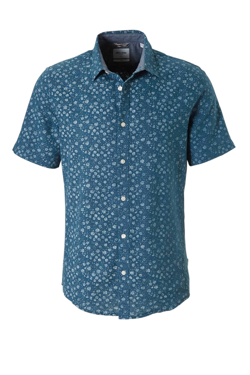 ONLY & SONS slim fit overhemd, Blauw/wit
