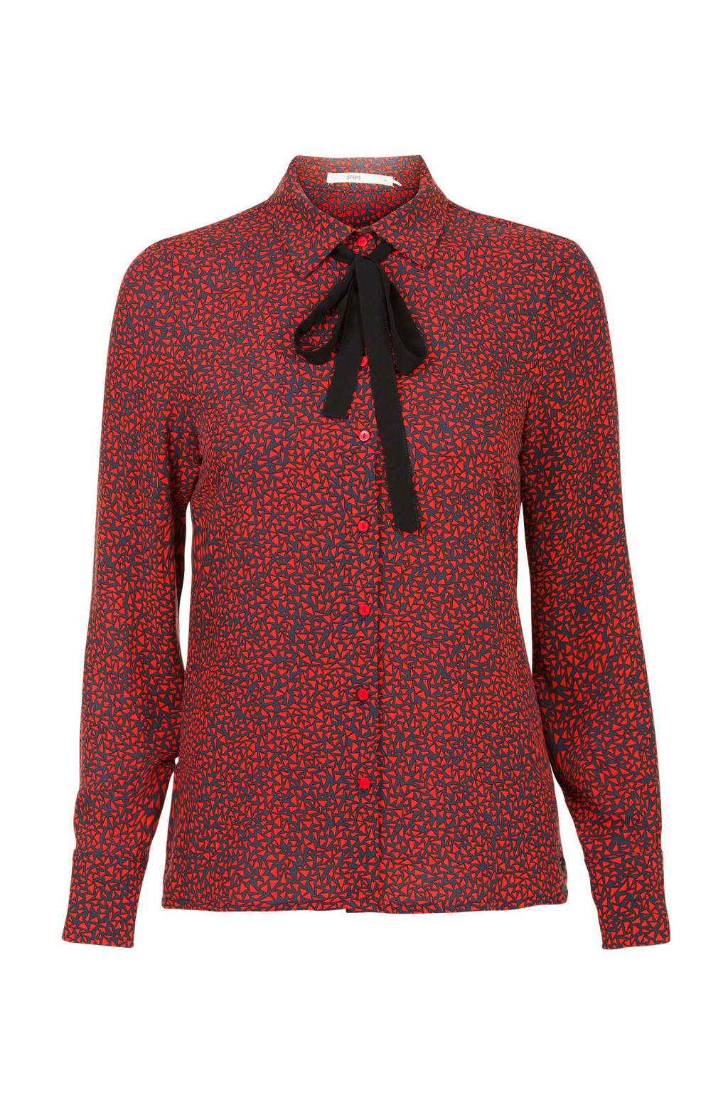 Steps blouse met all over print blauw, blauw/ rood