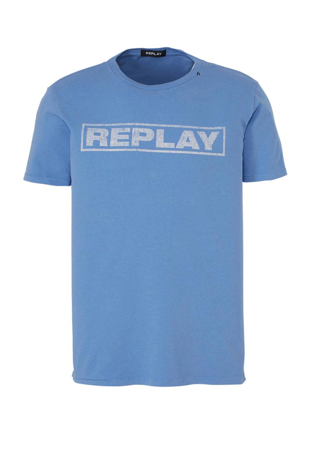 REPLAY T-shirt met print, Lichtblauw