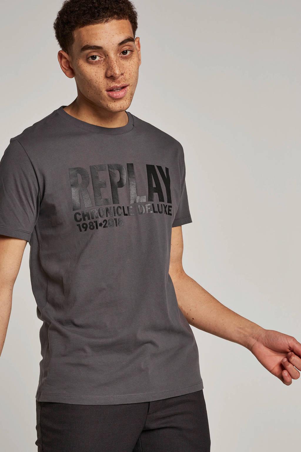 REPLAY T-shirt met logo antraciet, Antraciet