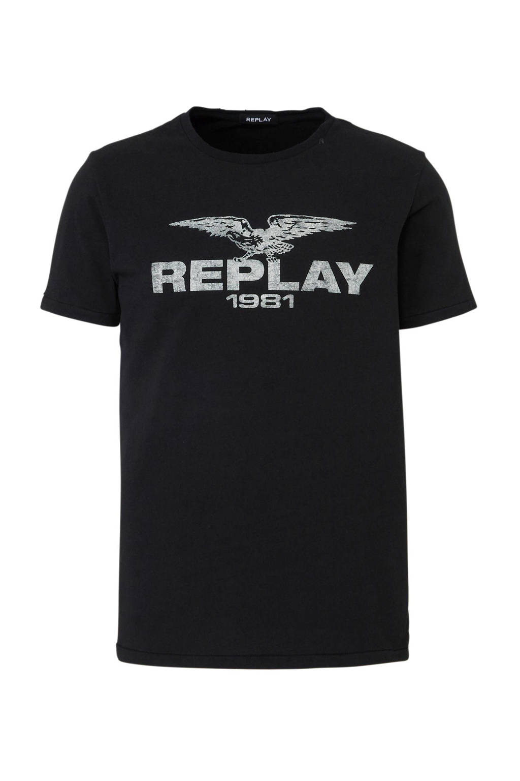 REPLAY T-shirt met logo, Zwart
