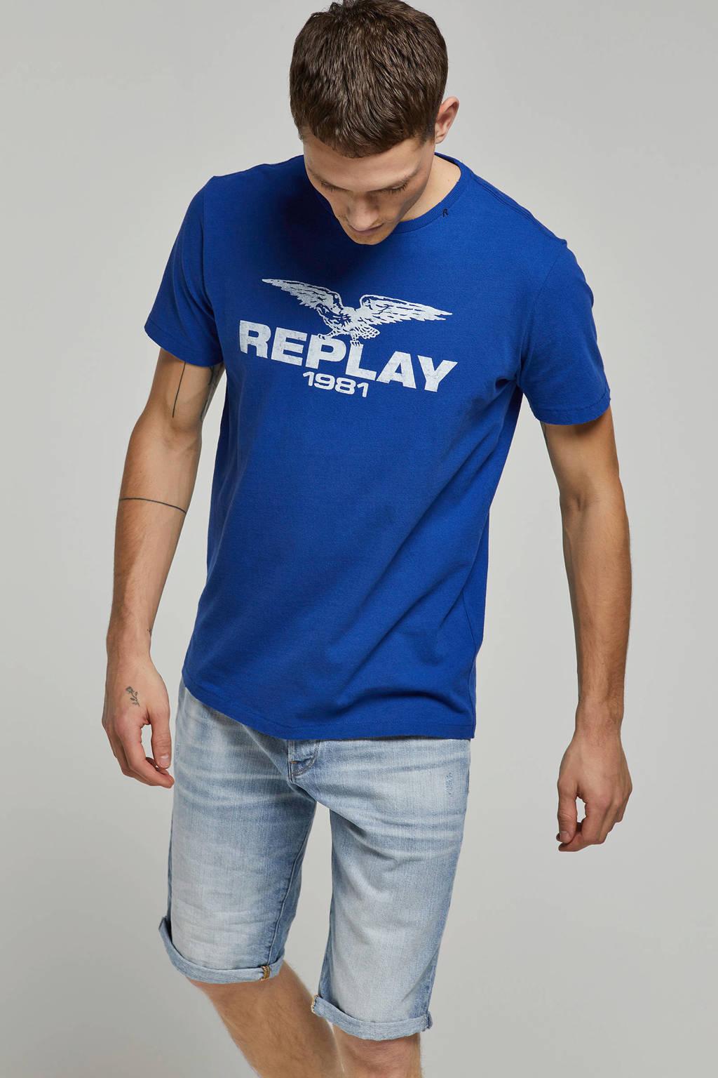 REPLAY T-shirt met logo, Blauw