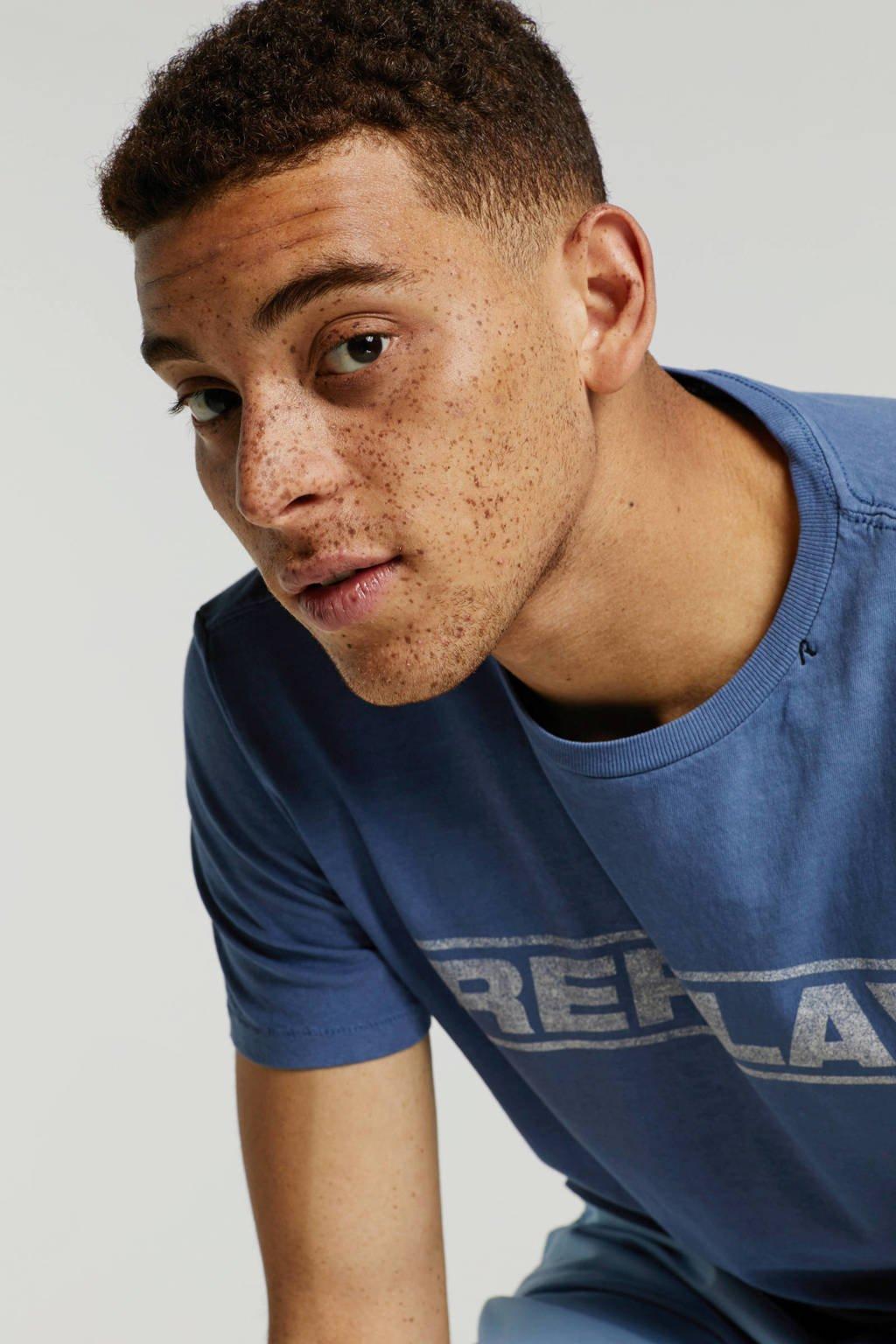 REPLAY T-shirt met print, Blauw