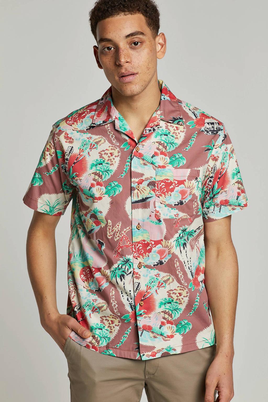REPLAY regular fit overhemd met print bruin, Bruin/groen
