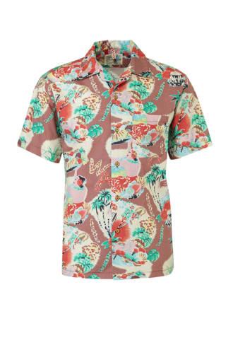 regular fit overhemd met print bruin
