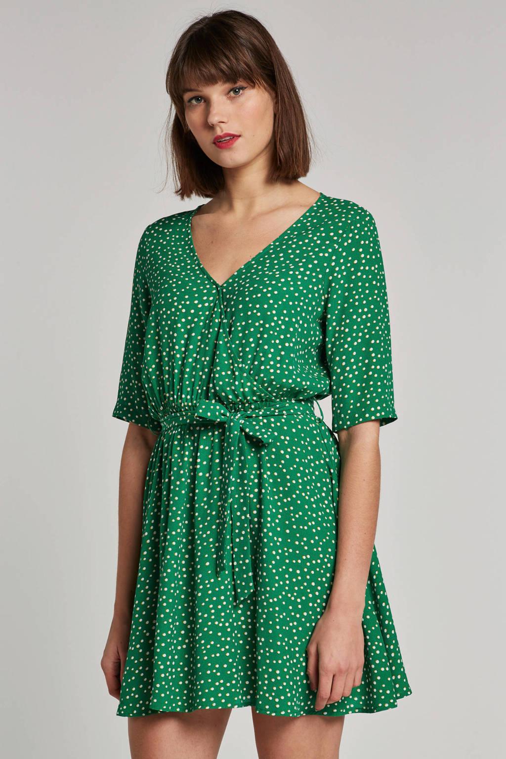 Another-Label overslagjurk met strikceintuur groen, Groen/wit