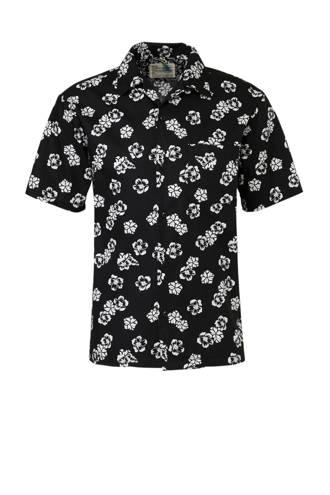 gebloemd regular fit overhemd zwart