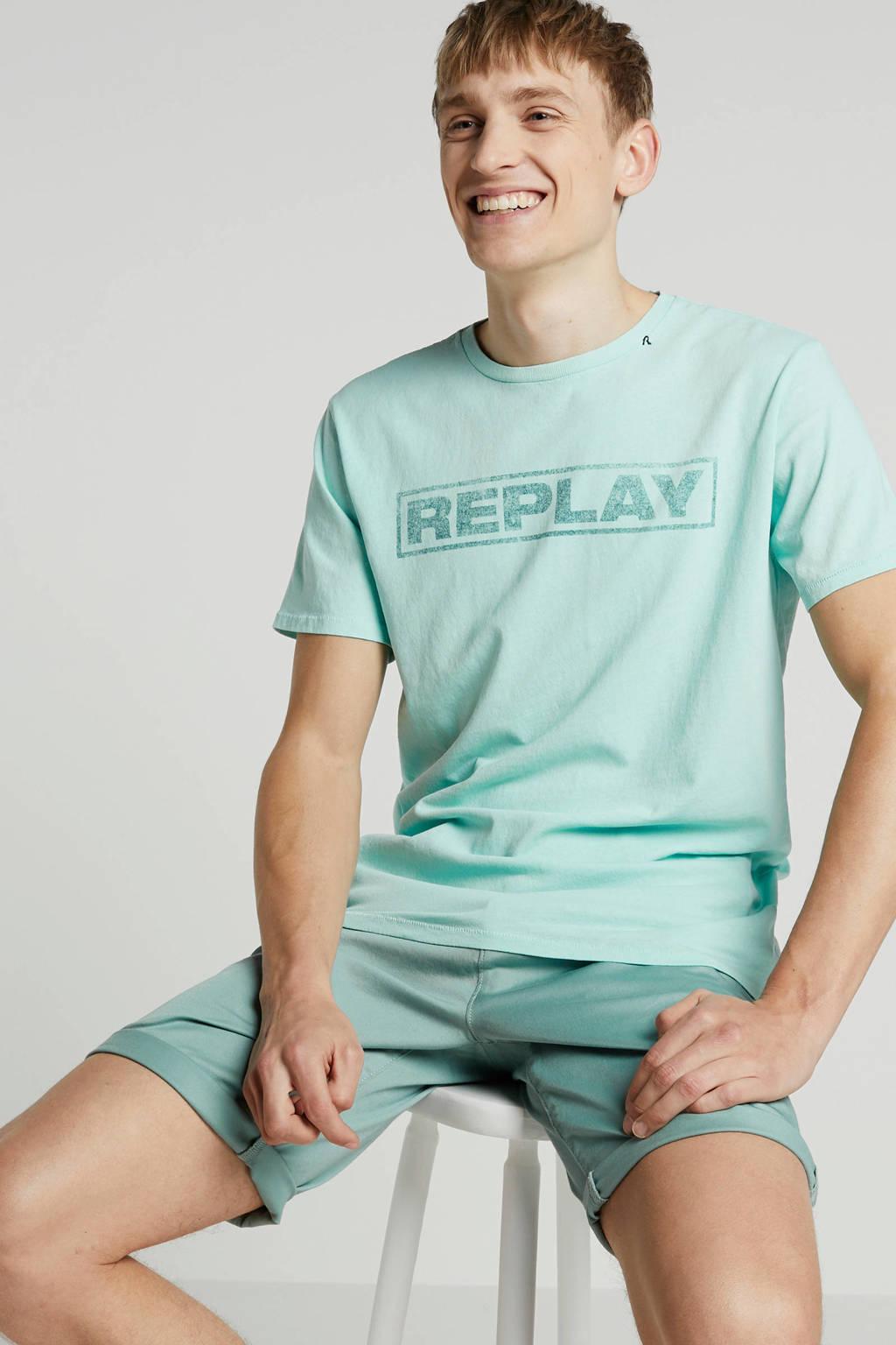 REPLAY T-shirt met print, Mintgroen