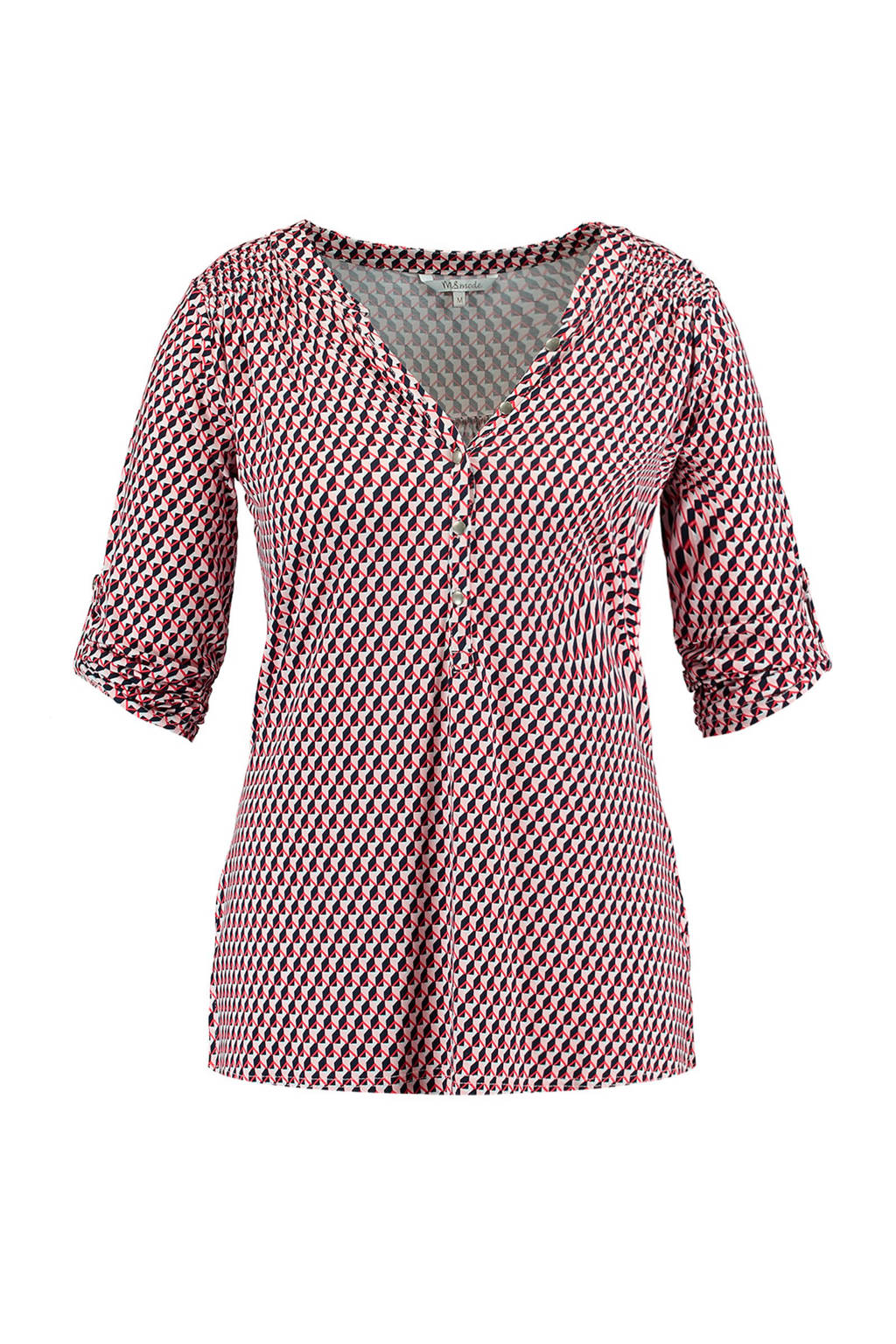 MS Mode top met all over print roze, Roze/rood