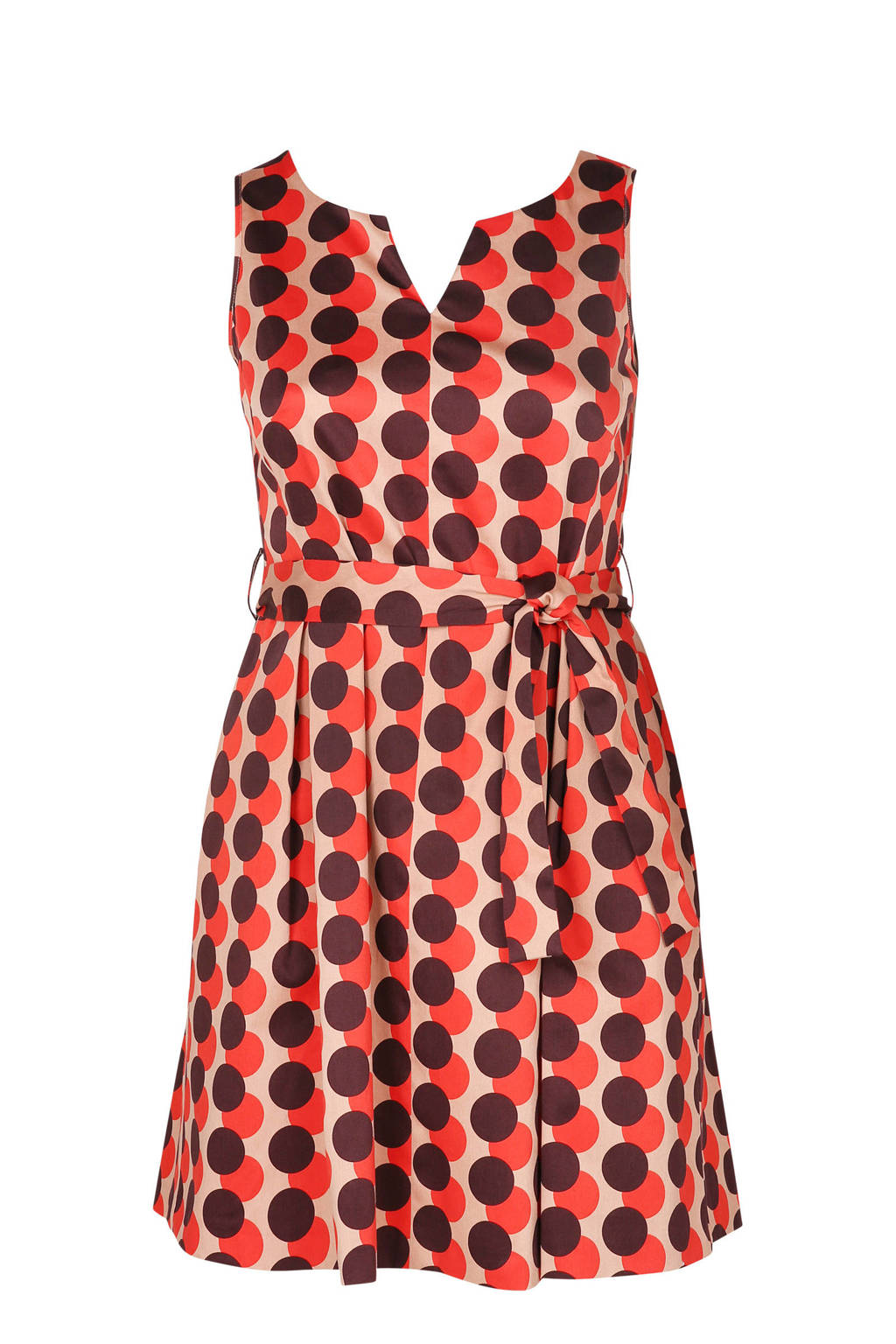 Paprika jurk met stippenprint koraalrood, Koraalrood