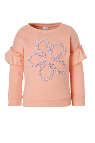 Palomino sweater met ruches zalm