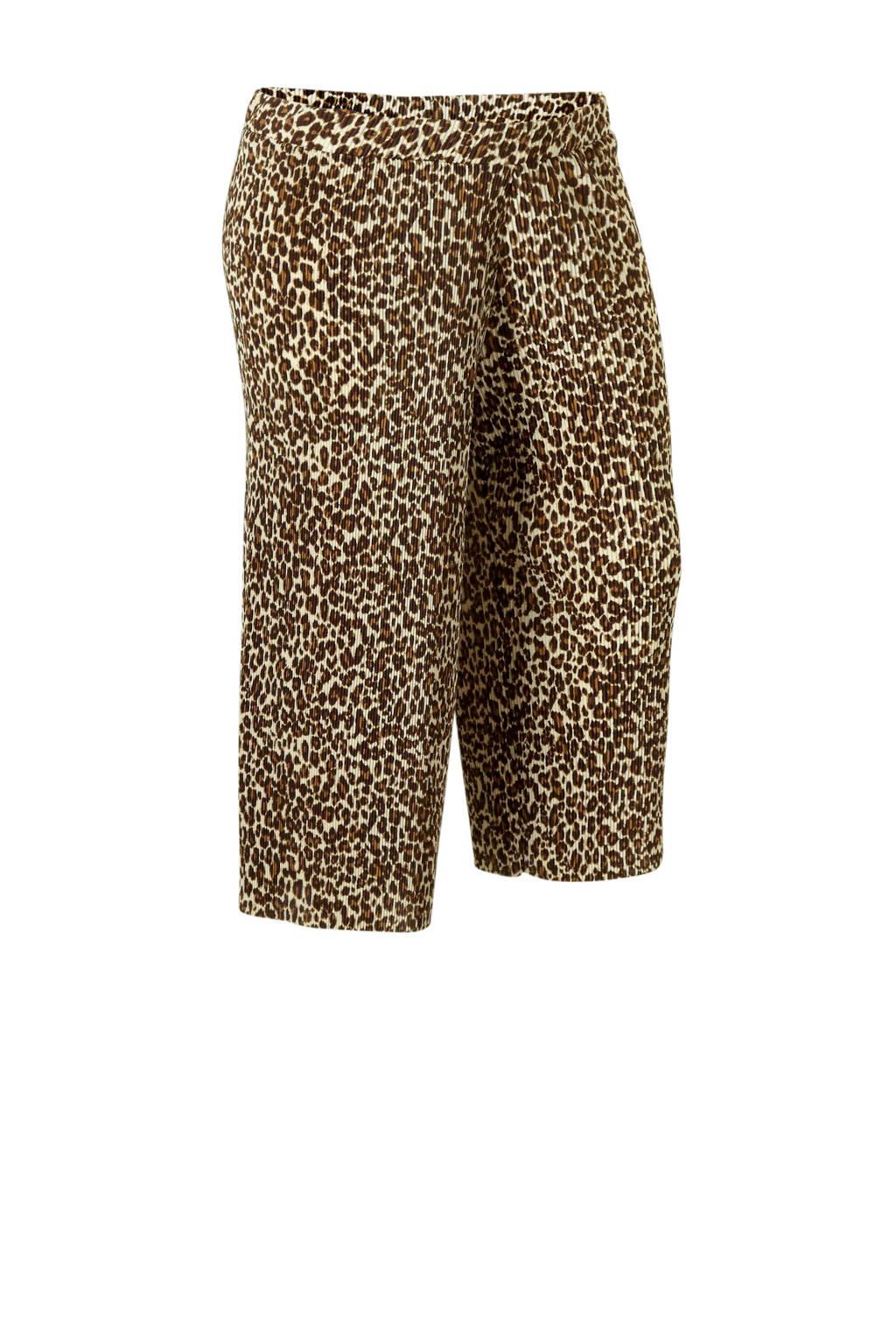 C&A XL Clockhouse culottes met plissé en tijgerprint beige, Beige/ Bruin/ Zwart