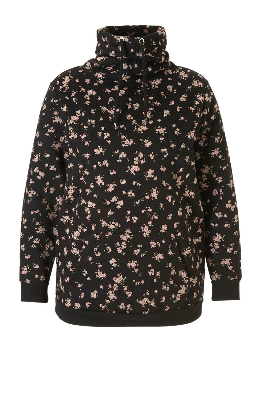 C&A XL Clockhouse sweater met bloemprint zwart, Zwart/ Roze/ Groen