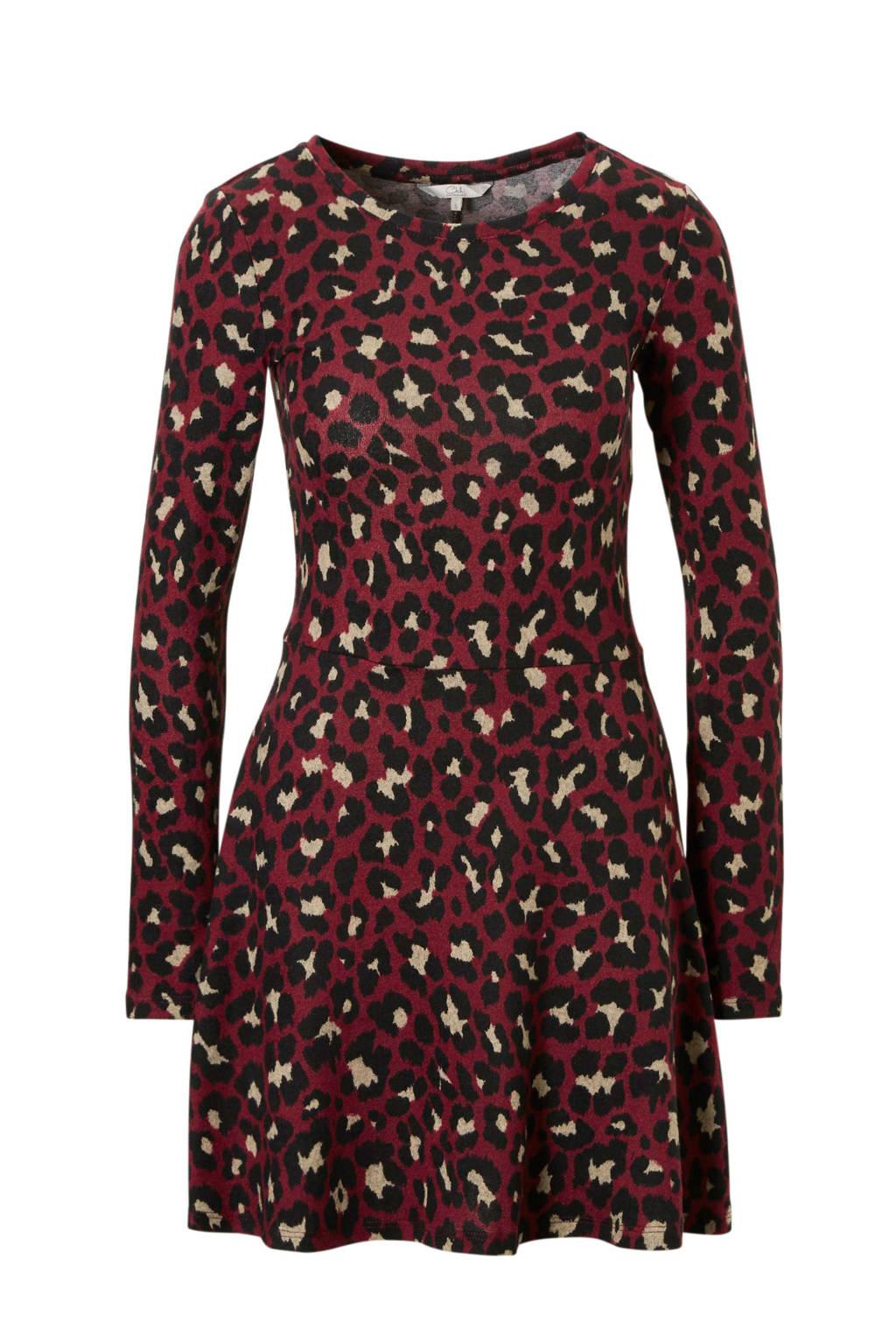 C&A Clockhouse jurk met panterprint donkerrood, Donkerrood
