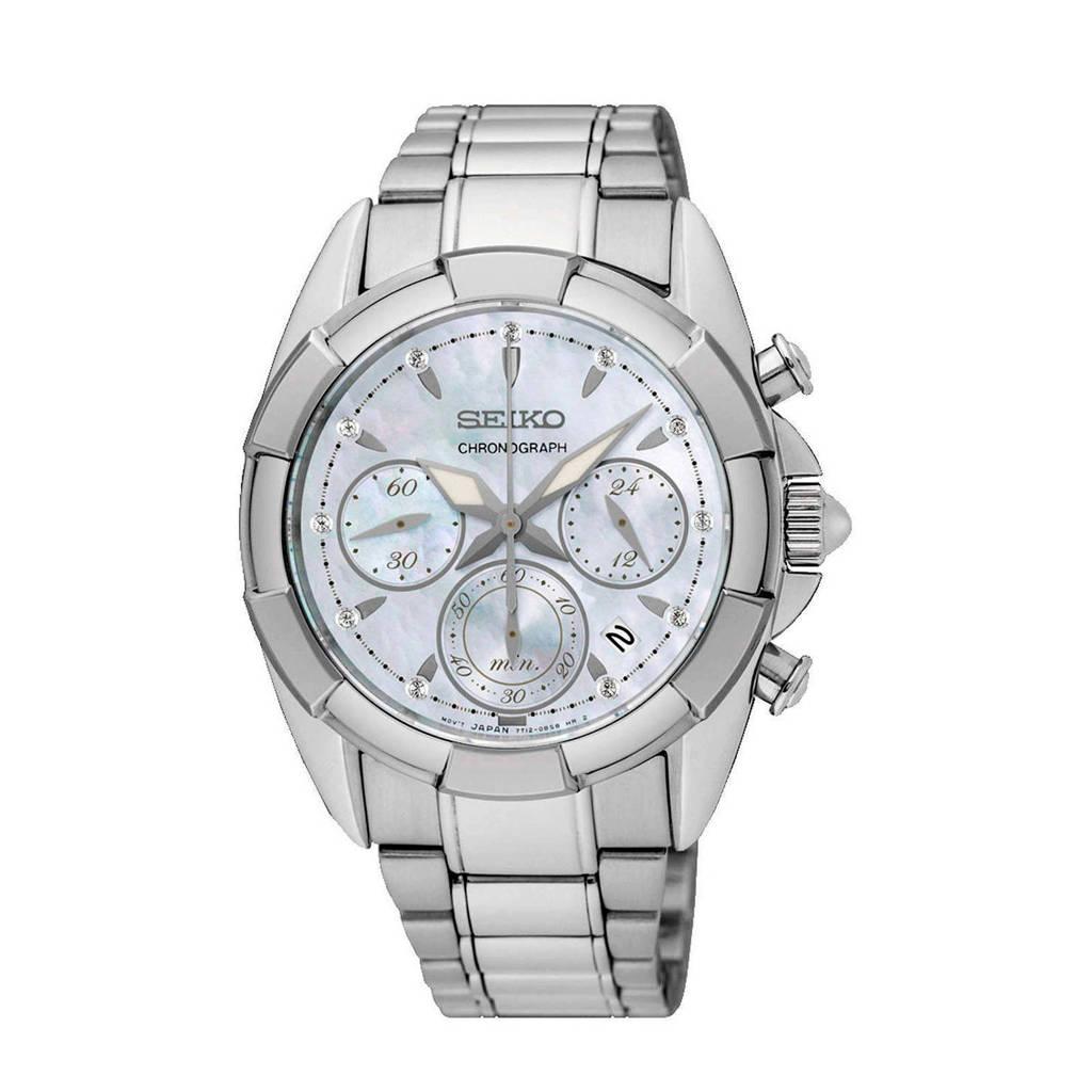Seiko chronograaf horloge SRW807P1, Zilverkleurig