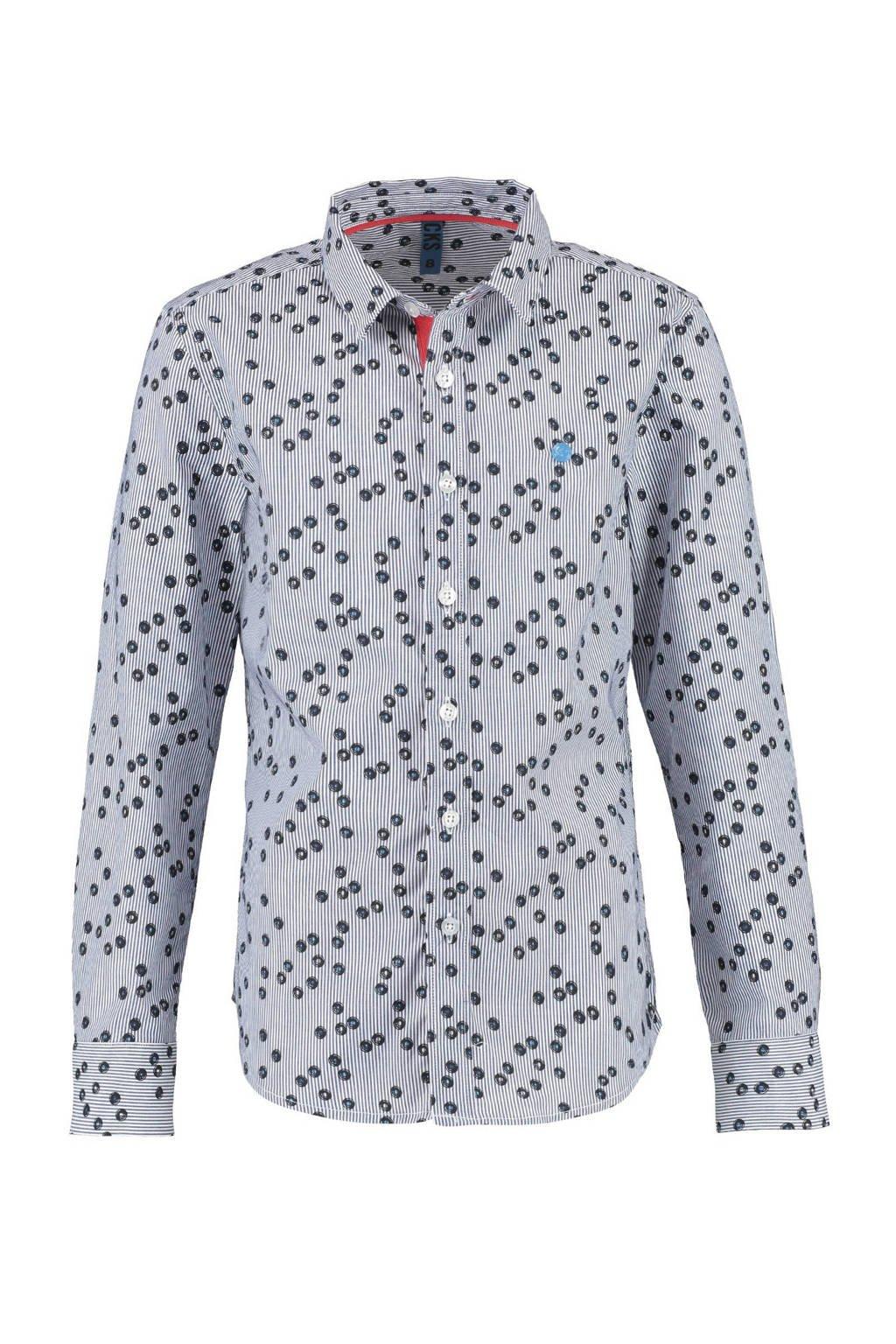 CKS KIDS overhemd Bosoen met all over print blauw, Blauw