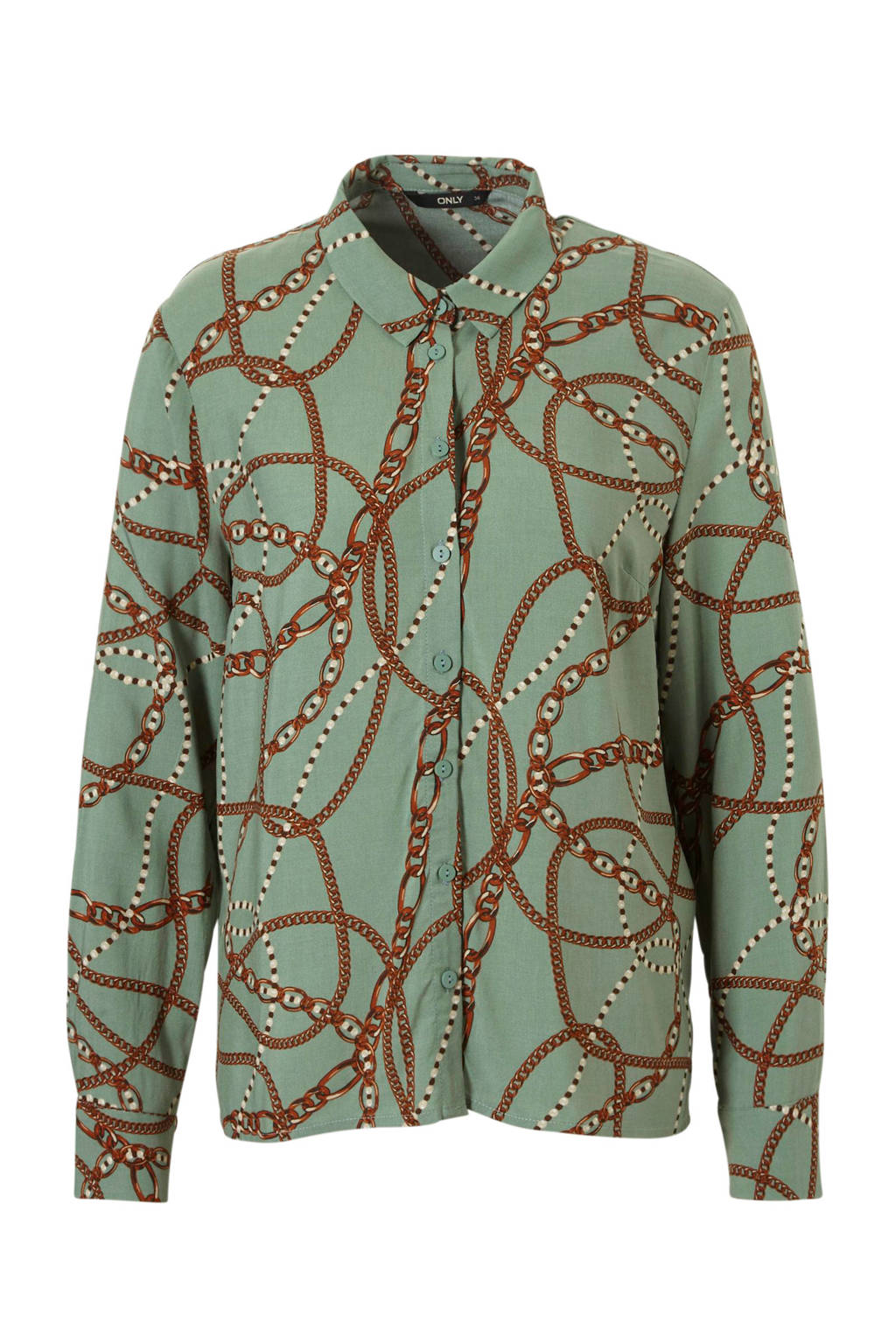 ONLY blouse met all over print, Groen/bruin/wit