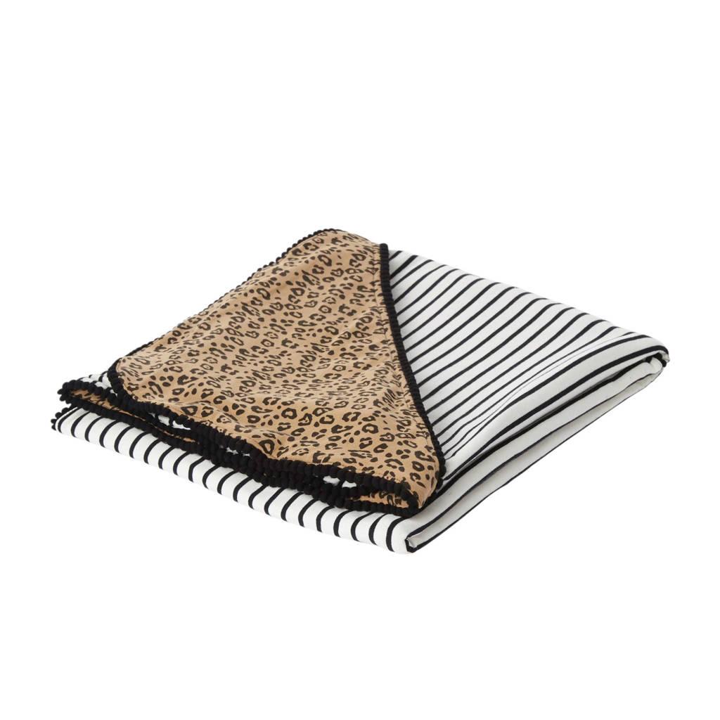 Petit Filippe wikkeldeken black stripes/panter 100x100 cm, Bruin/wit/zwart