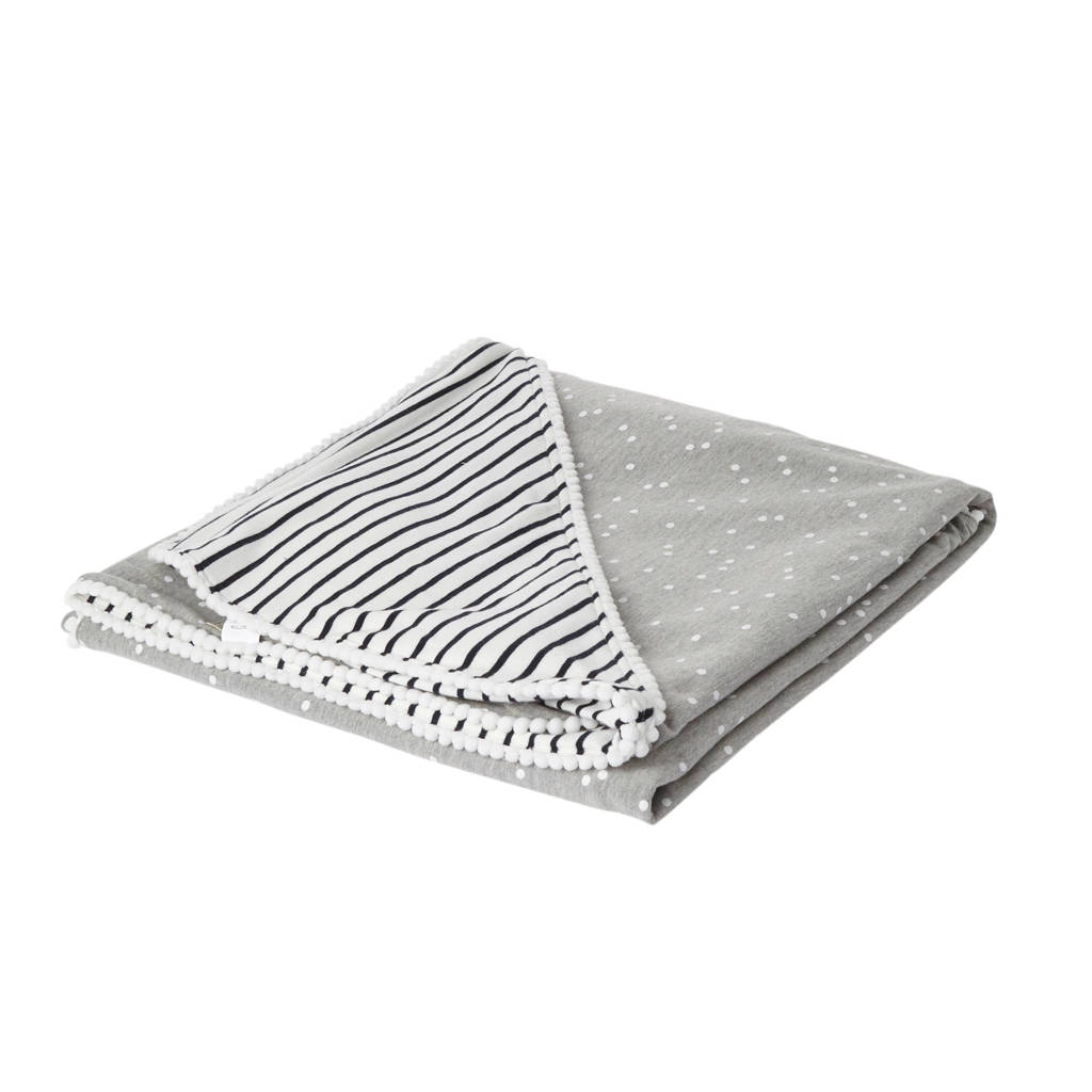 Petit Filippe wikkeldeken breton stripes/grijs 100x100 cm, Grijs/blauw/wit