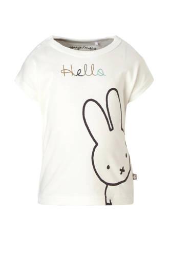 newborn T-shirt met printopdruk en tekst wit