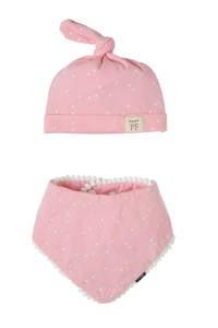Petit Filippe geschenkset muts + bandana stip roze, Roze/wit