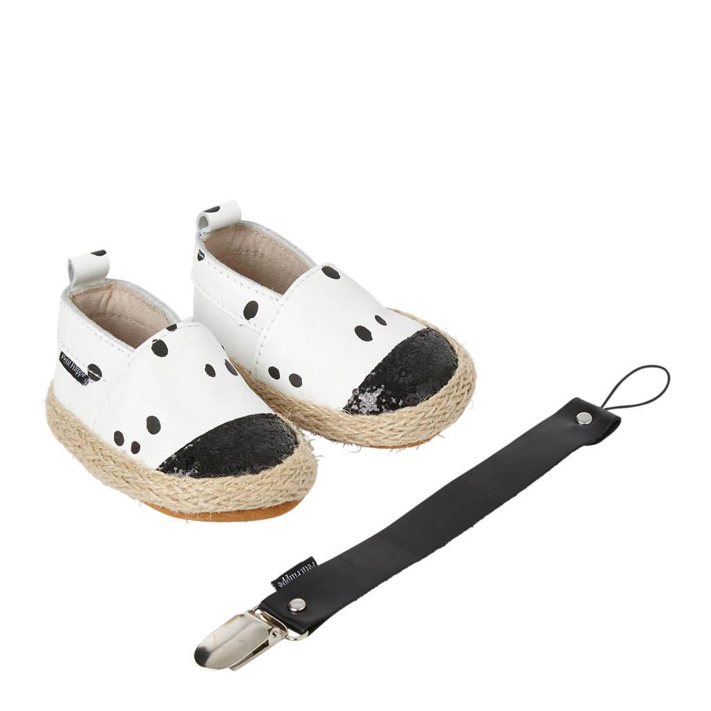 Petit Filippe geschenkset met leren espadrilles + speenkoord wit/zwart, Wit/zwart
