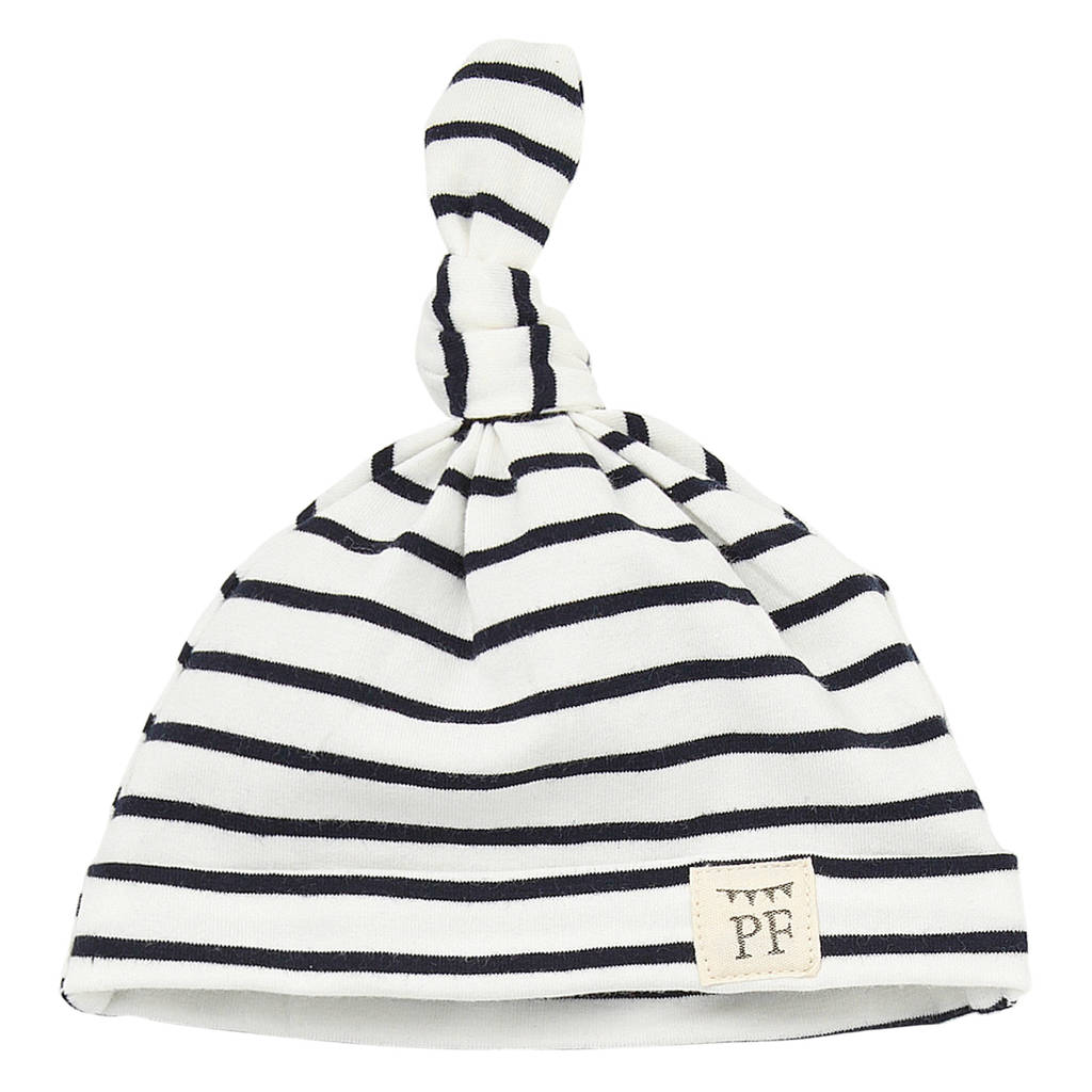 Petit Filippe babymuts breton stripes blauw/wit, Donkerblauw/wit
