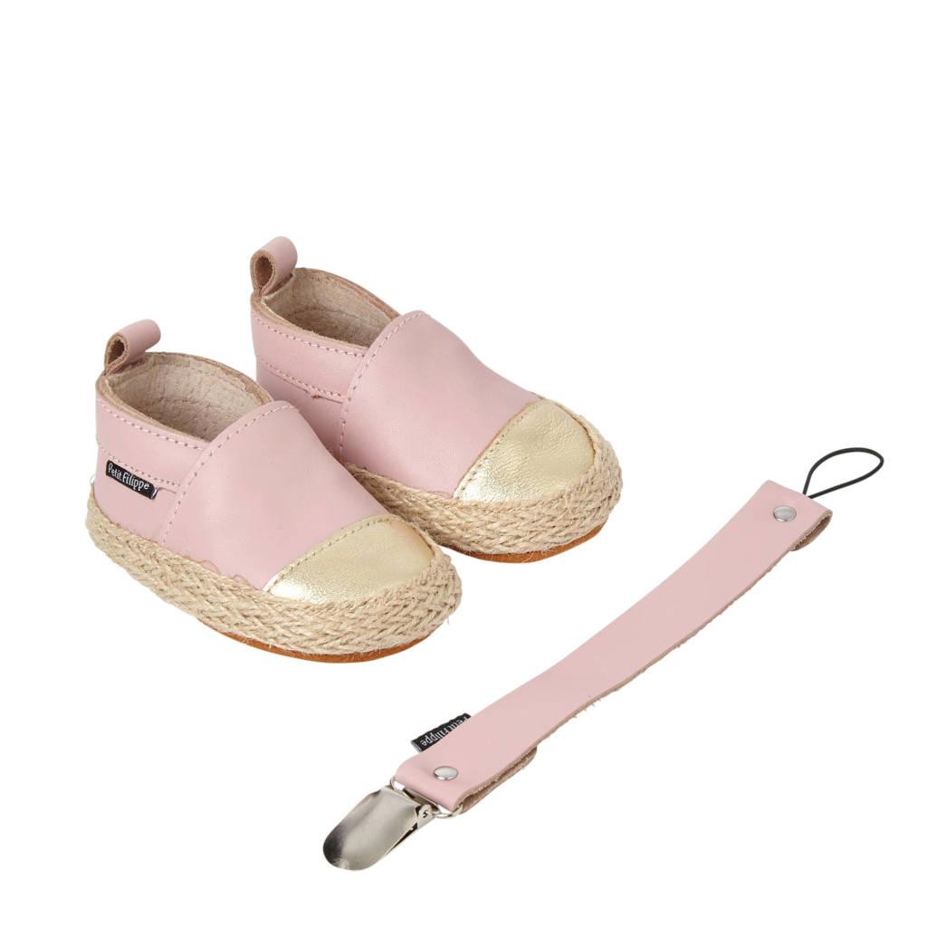 Petit Filippe geschenkset met leren espadrilles + speenkoord uni roze/goud