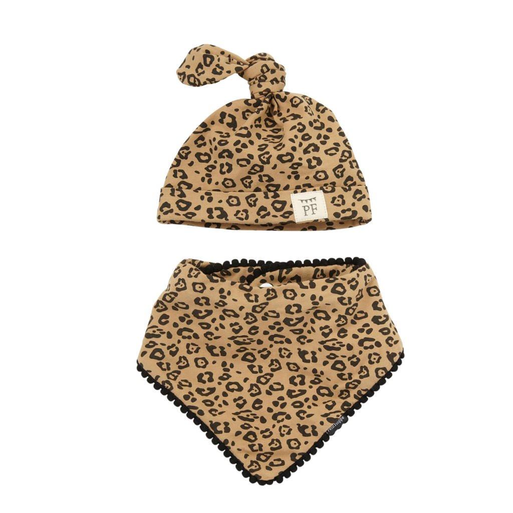 Petit Filippe geschenkset muts + bandana panterprint, Bruin/zwart