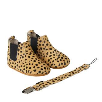 geschenkset met leren chelsea boots + speenkoord cheetah