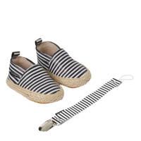 Petit Filippe geschenkset met leren espadrilles + speenkoord breton stripes, Zwart/wit