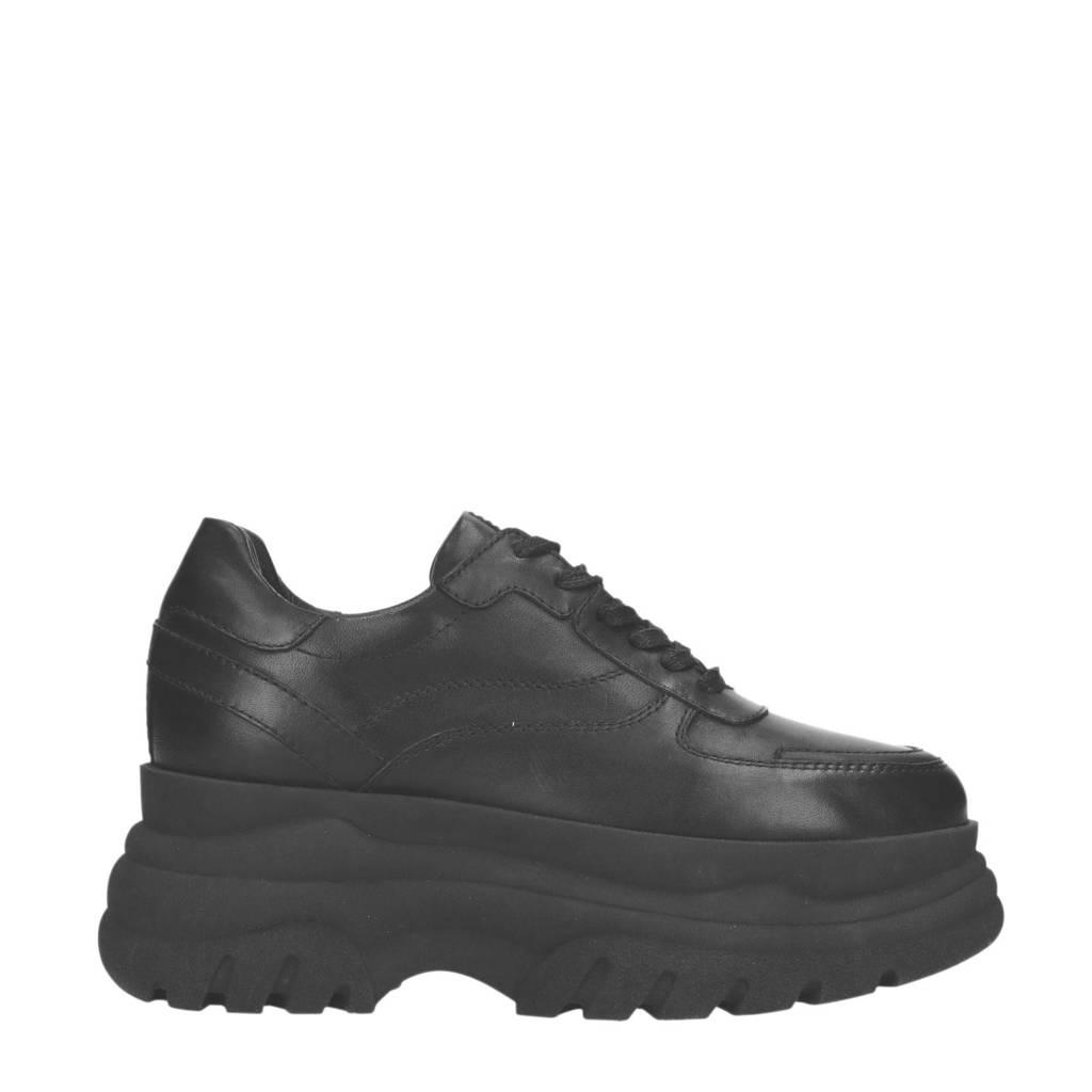Sacha  leren chunky platform sneakers zwart, Zwart
