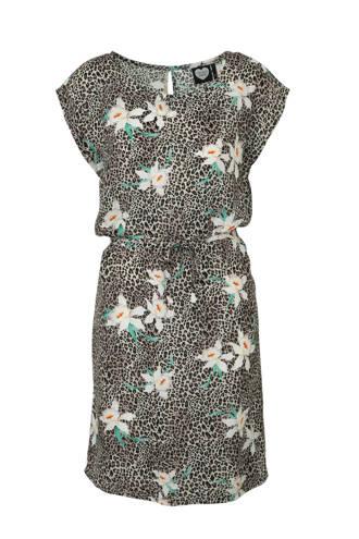 jurk met all over panter/bloemenprint