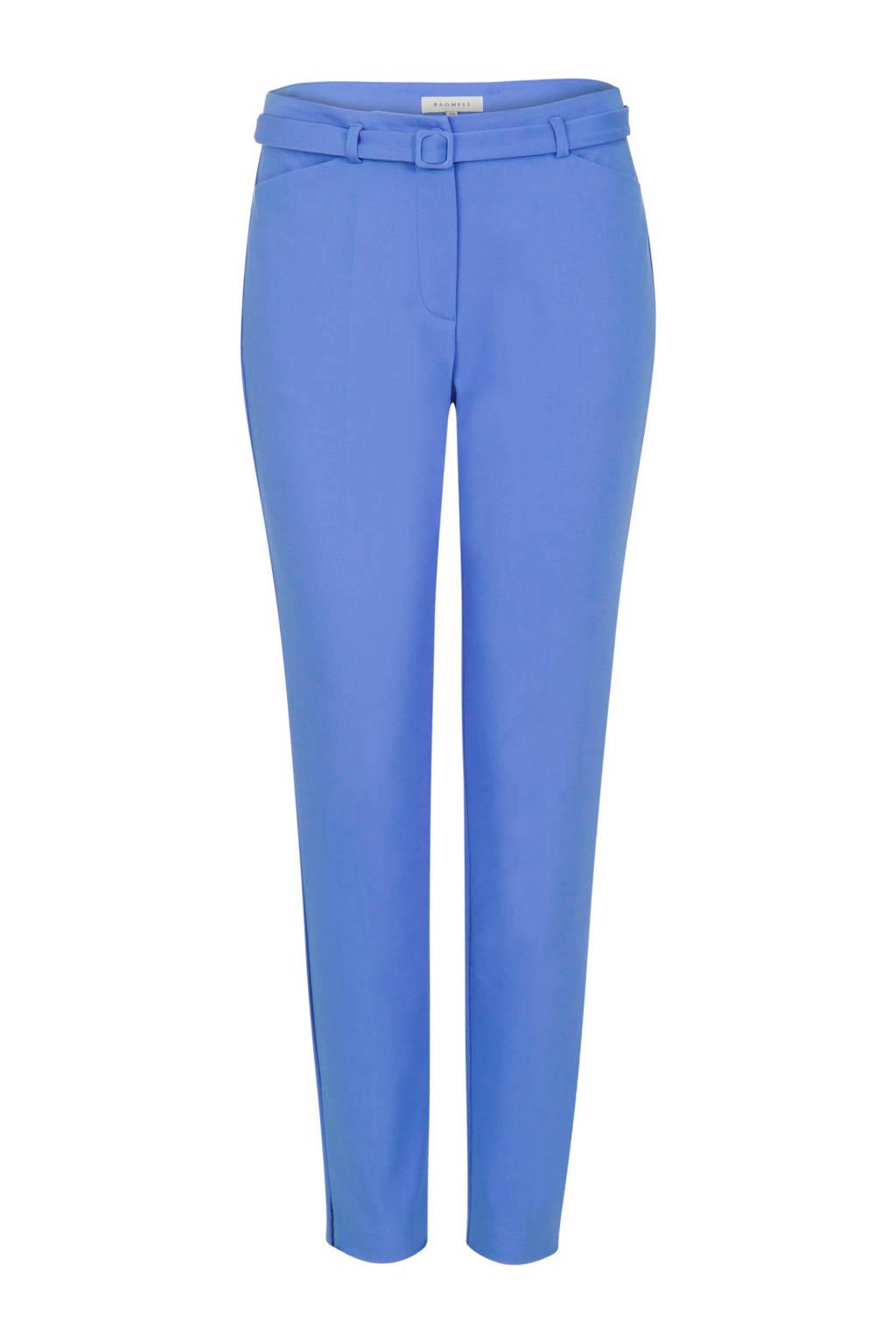 Promiss pantalon met riem blauw, Blauw