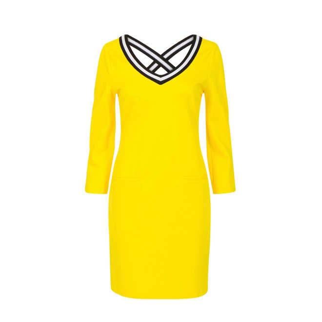 83cdad0a3e8ddb Promiss. jurk met sierbandjes geel