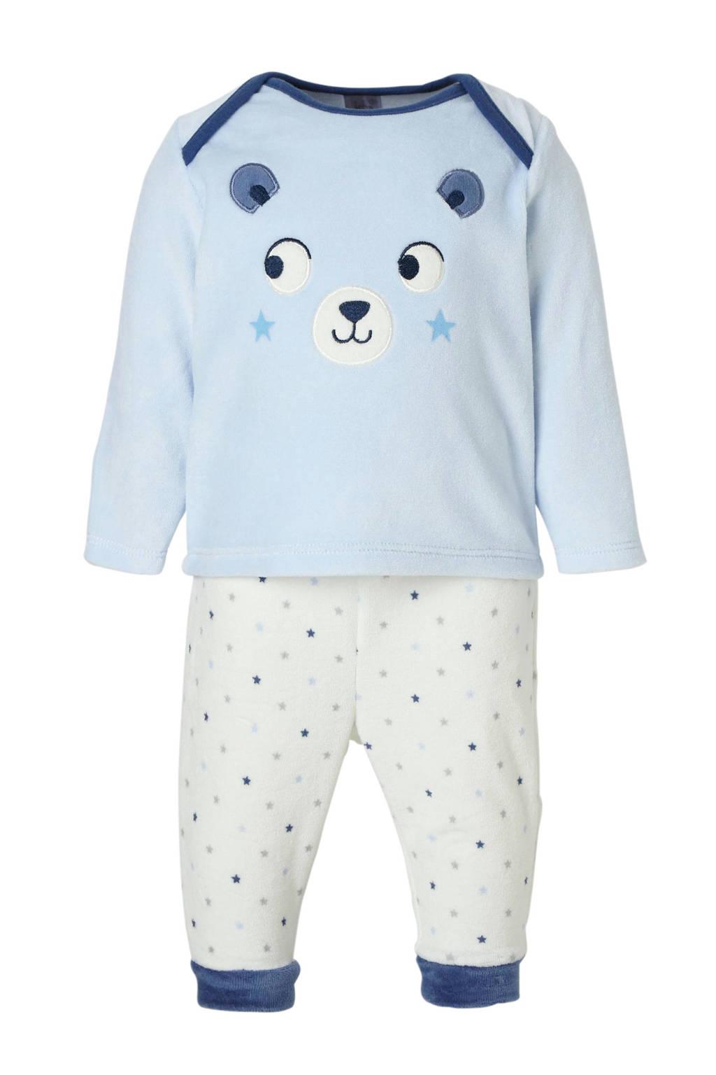 C&A Baby Club velours longsleeve + broek - set van 2, Blauw/ecru