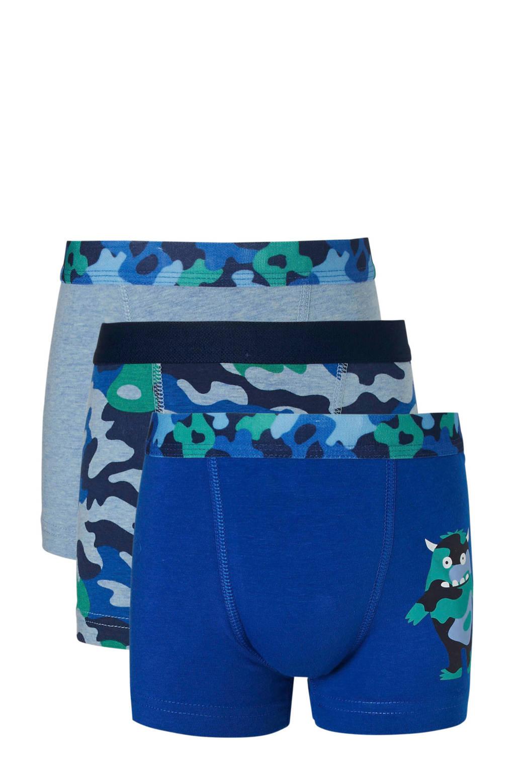 C&A Palomino Junior  boxershort - set van 3, Blauw/groen/grijsblauw