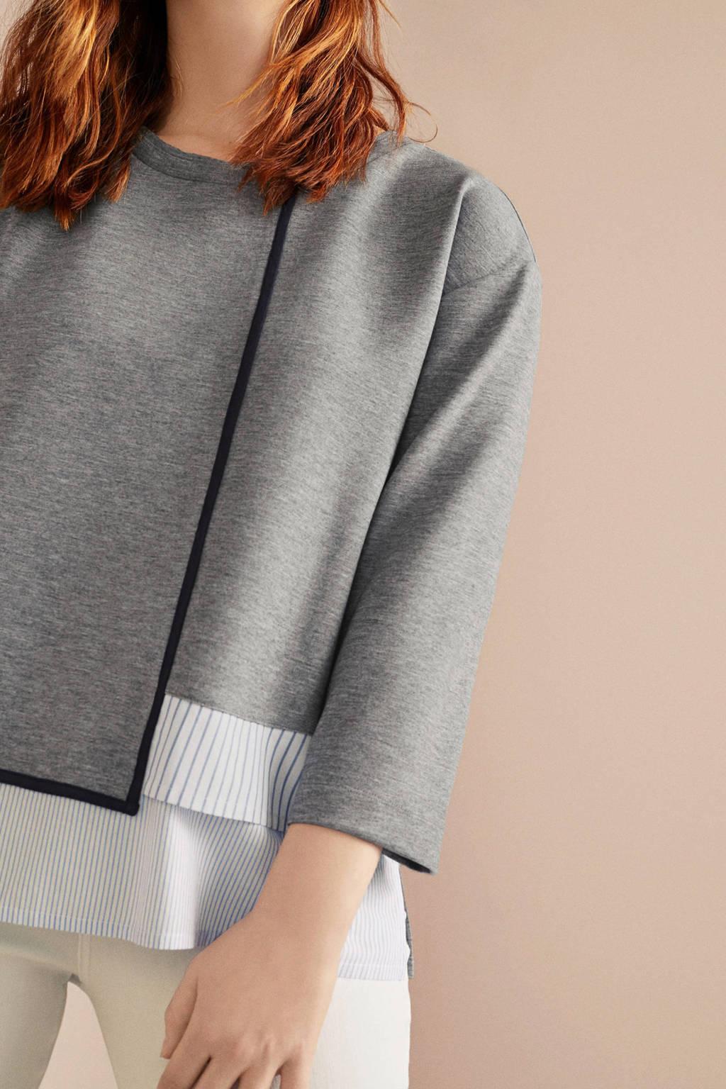 Violeta by Mango asymmetrische sweater grijs, Grijs/ Marine/ Wit