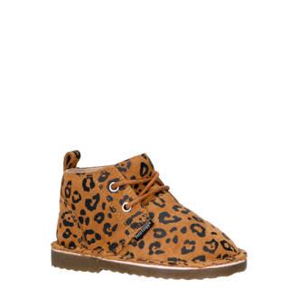 suède desert boots met panterprint bruin